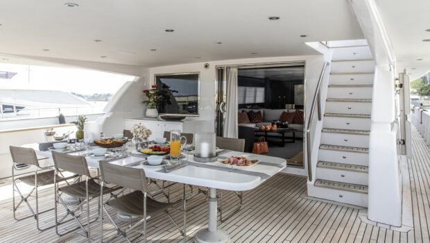 aft deck table of motor yacht