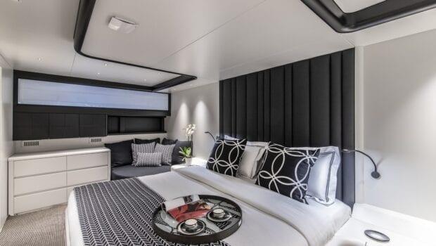 bedroom of motor yacht