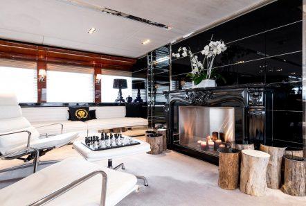 bliss salon fireplace luxury charter yacht_valef -  Valef Yachts Chartering - 5766