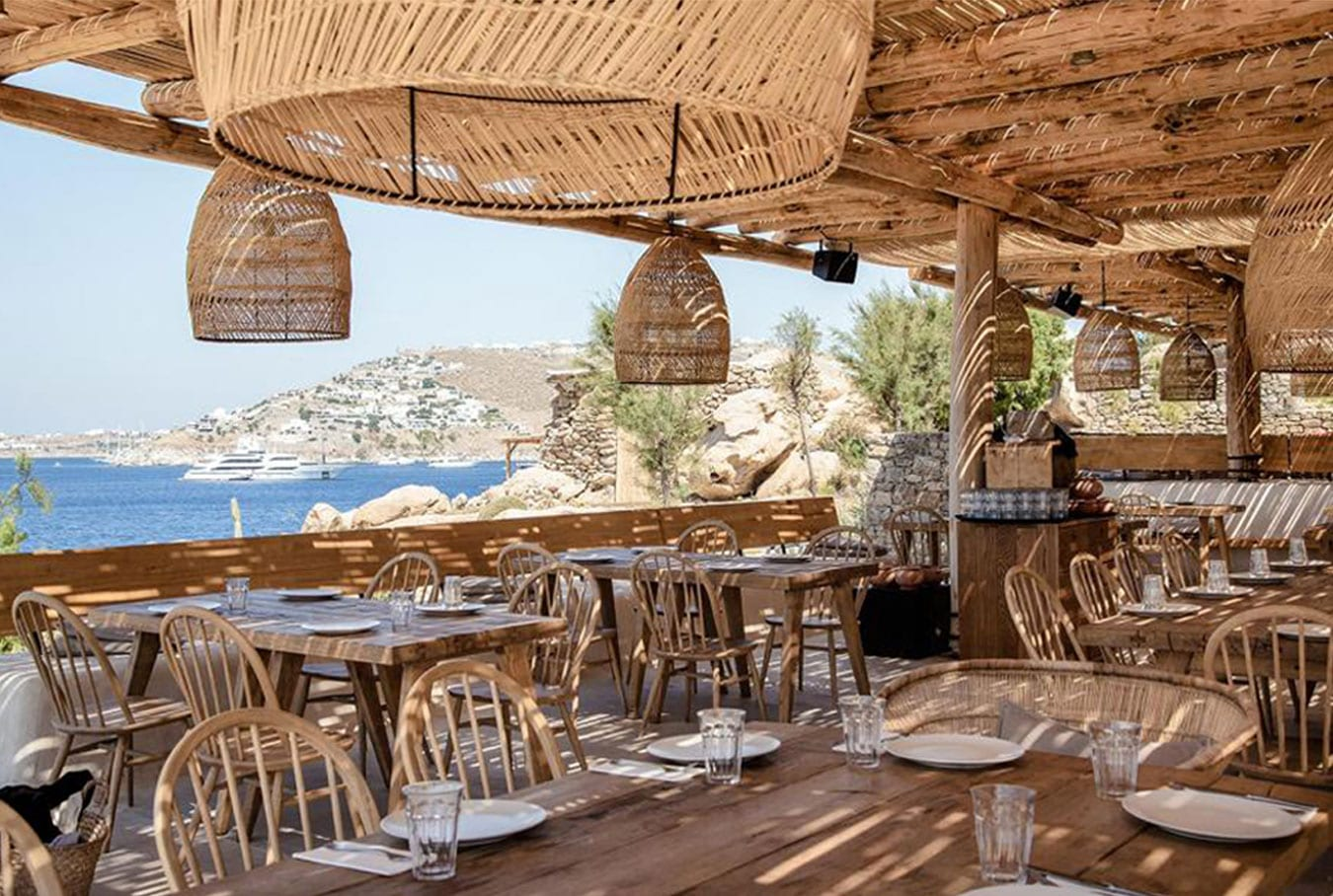 a boho-chic beach restaurant in Mykonos