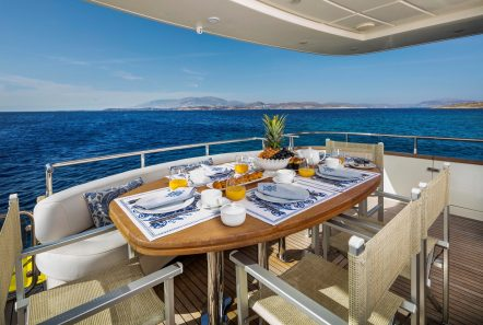gorgeous motor yacht aft deck table (1) min -  Valef Yachts Chartering - 3958