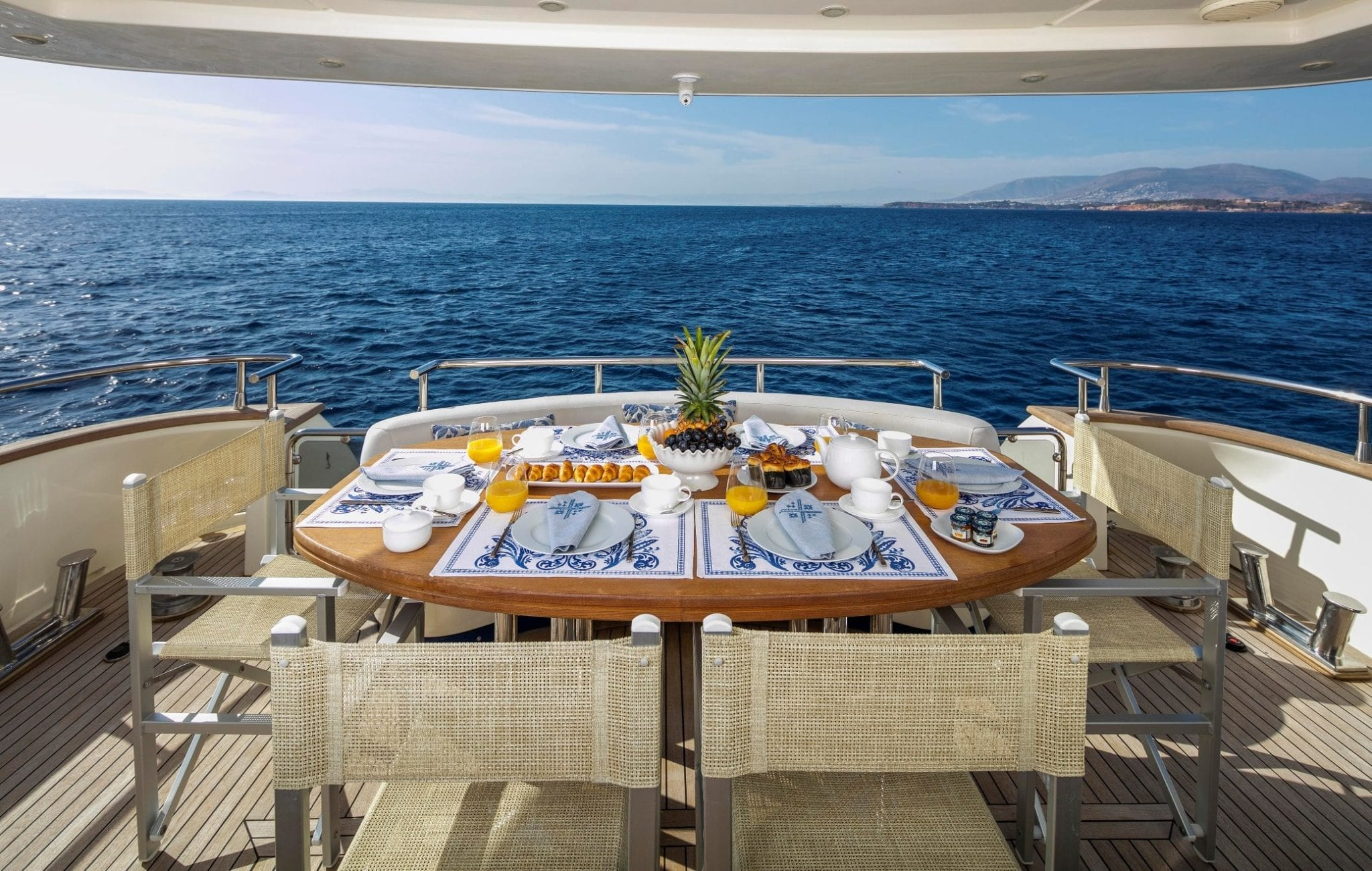 gorgeous motor yacht aft deck table (2) min -  Valef Yachts Chartering - 3957
