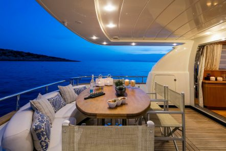 gorgeous motor yacht aft deck table (3) min -  Valef Yachts Chartering - 3956