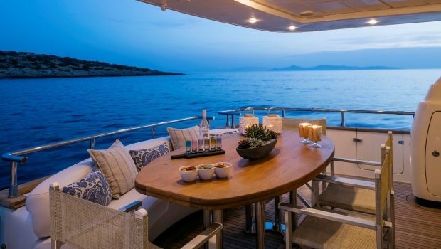 gorgeous motor yacht aft deck table (4) min -  Valef Yachts Chartering - 3955