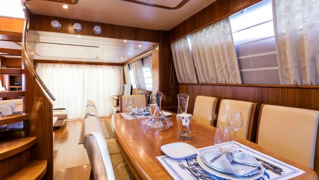 gorgeous motor yacht dining (1) min -  Valef Yachts Chartering - 3950