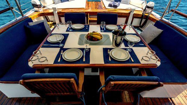 joanna k greek motor sailer aft table (1) min -  Valef Yachts Chartering - 4401