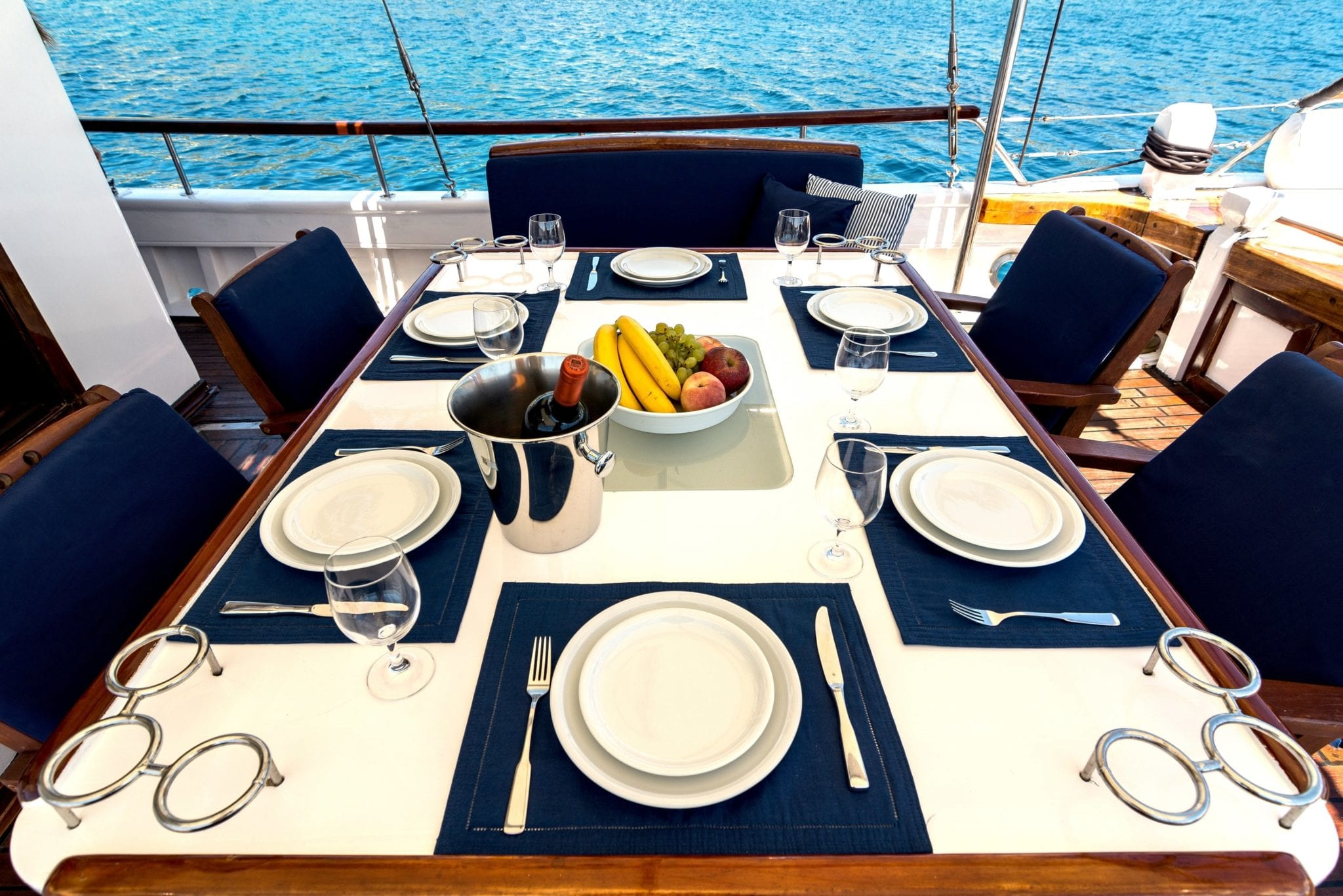 joanna k greek motor sailer aft table (2) min -  Valef Yachts Chartering - 4400