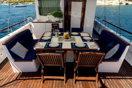joanna k greek motor sailer aft table (3) min -  Valef Yachts Chartering - 4399