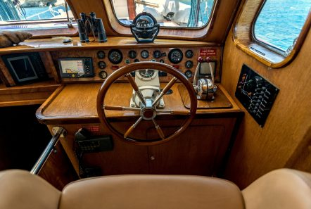 joanna k greek motor sailer helm min -  Valef Yachts Chartering - 4388