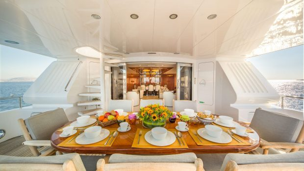 milos at sea motor yacht aft deck (1) min -  Valef Yachts Chartering - 4314