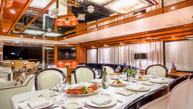 milos at sea motor yacht dining (2) min -  Valef Yachts Chartering - 4343