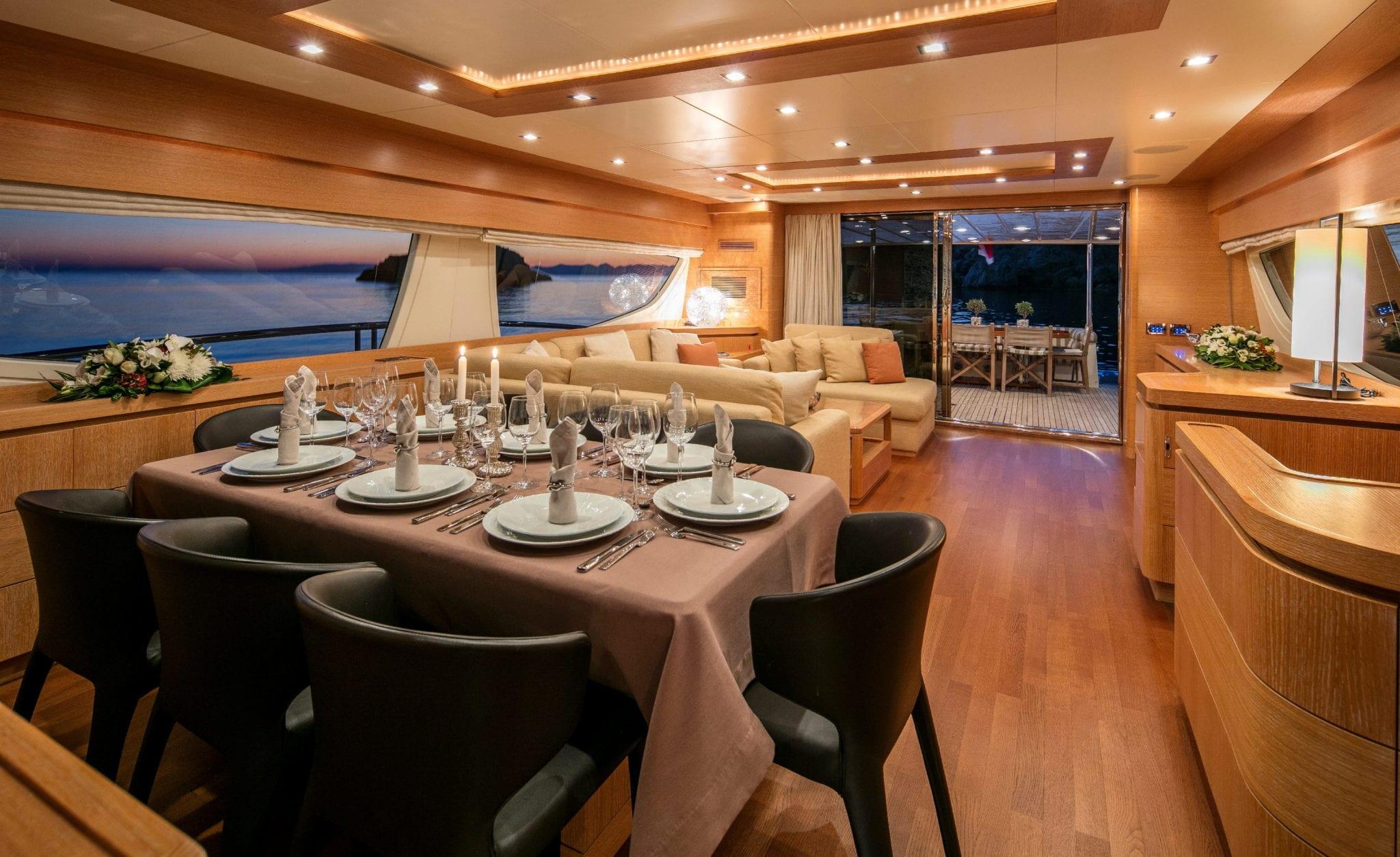mythos motor yacht dining min -  Valef Yachts Chartering - 4817
