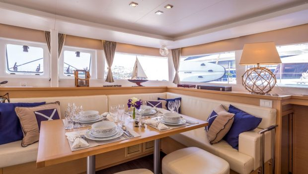 new horizons catamaran indoor dining_valef -  Valef Yachts Chartering - 5064