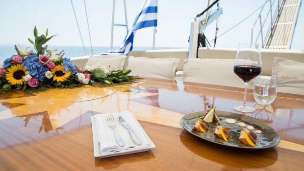aegean schatz motor sailer gulet aft table (2) -  Valef Yachts Chartering - 3055