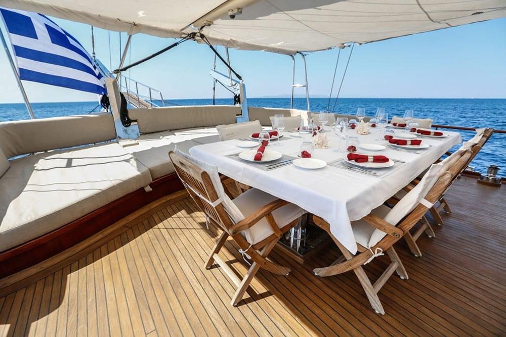 aegean schatz motor sailer gulet ext dining -  Valef Yachts Chartering - 3025