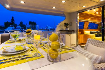 amoraki motor yacht aft dining -  Valef Yachts Chartering - 2585