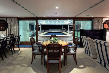 grand ocean mega yacht charter dining fish tank -  Valef Yachts Chartering - 3096