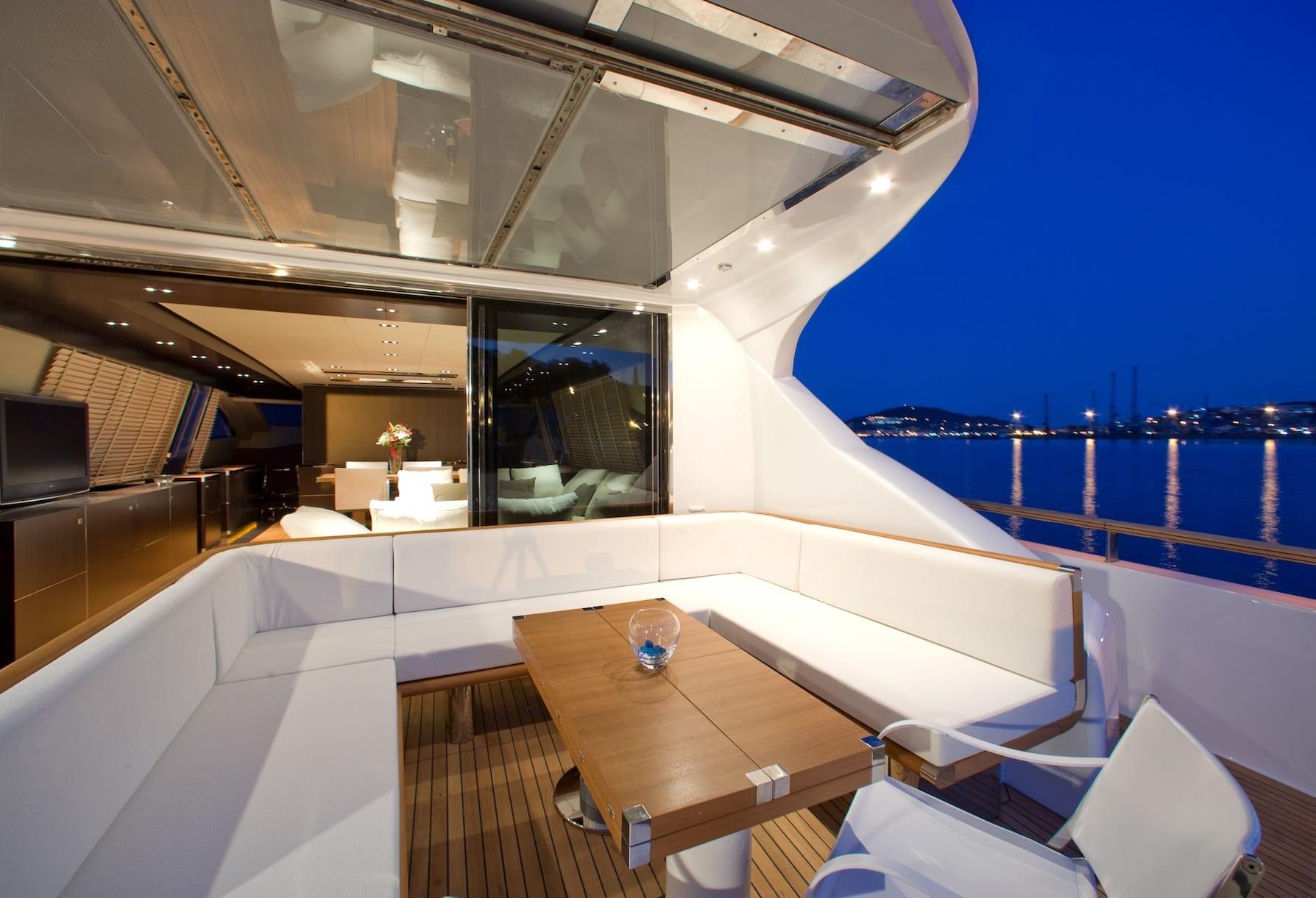 kambos blue open motor yacht aft salon -  Valef Yachts Chartering - 3191