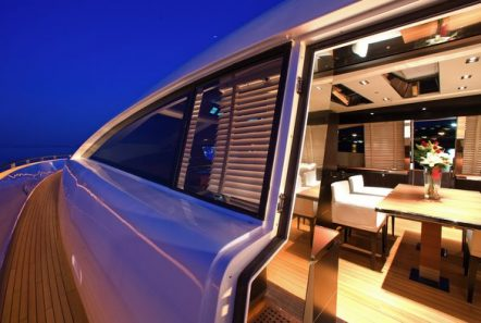 kambos blue open motor yacht night shot -  Valef Yachts Chartering - 3197
