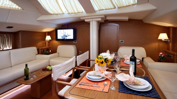 shooting star sailing yacht dining and salon (1) min -  Valef Yachts Chartering - 3639