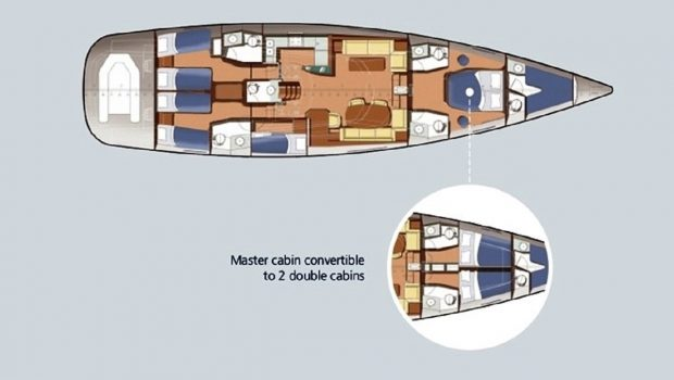 shooting star sailing yacht layout -  Valef Yachts Chartering - 3630