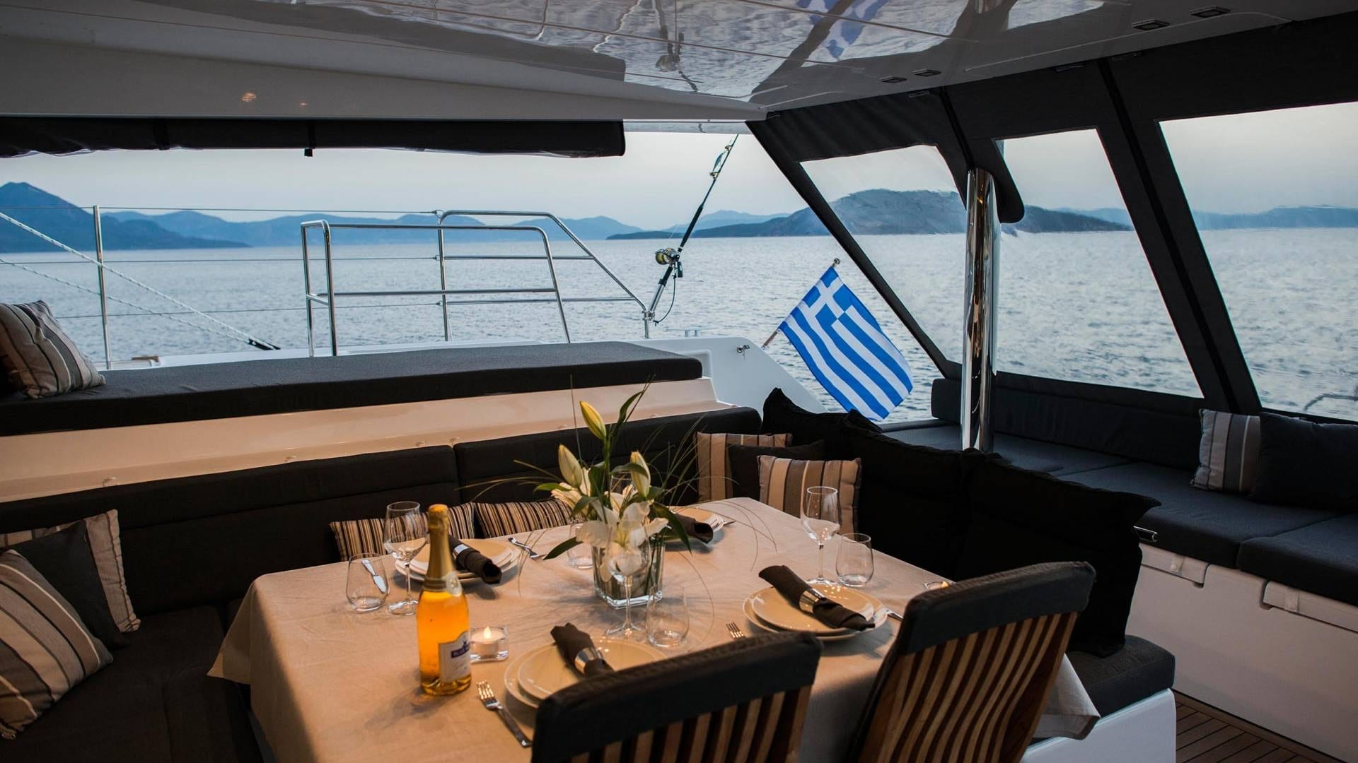 alyssa catamaran lagoon dining aboard (2) -  Valef Yachts Chartering - 2370