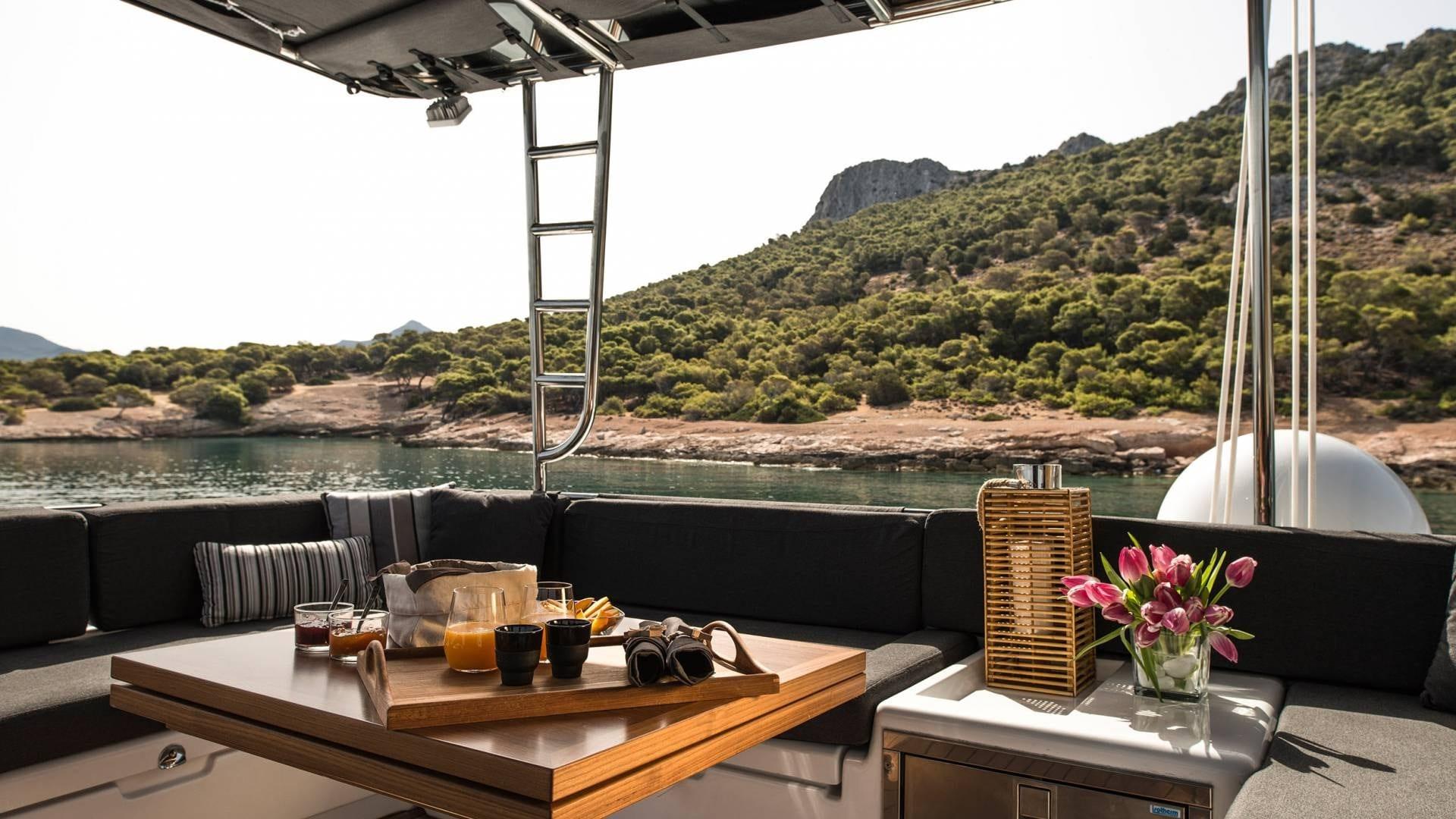 alyssa catamaran lagoon dining aboard (3) -  Valef Yachts Chartering - 2369