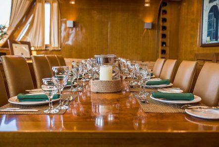 arktos motor sailer interior dining (1) min -  Valef Yachts Chartering - 2304