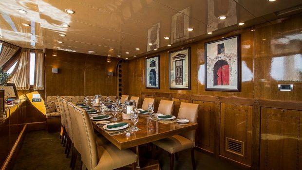 arktos motor sailer interior dining (3) min -  Valef Yachts Chartering - 2302