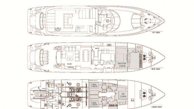 sanjana motor yacht layout -  Valef Yachts Chartering - 1734