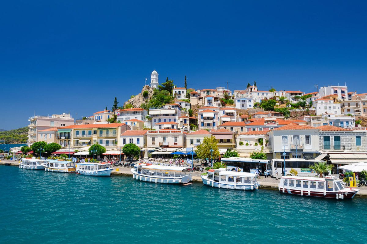 Fabulous Poros island at the port