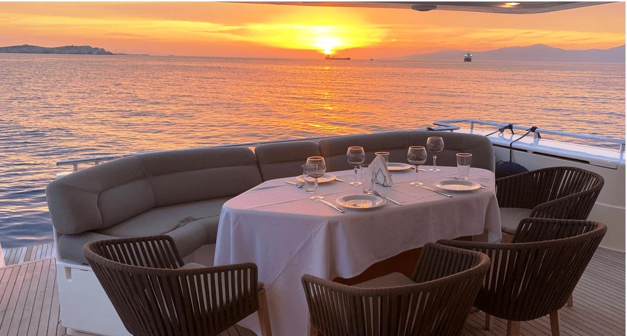armonia motor yacht ferretti aft deck dining (2) min -  Valef Yachts Chartering - 1016