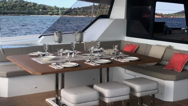 number one catamaran aft deck dining (1) min -  Valef Yachts Chartering - 0802