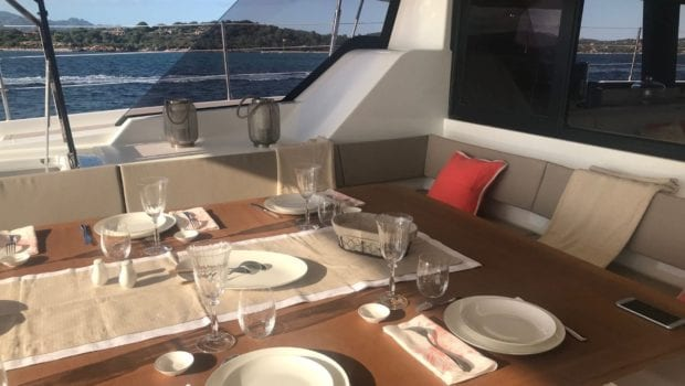 number one catamaran aft deck dining (2) min -  Valef Yachts Chartering - 0801