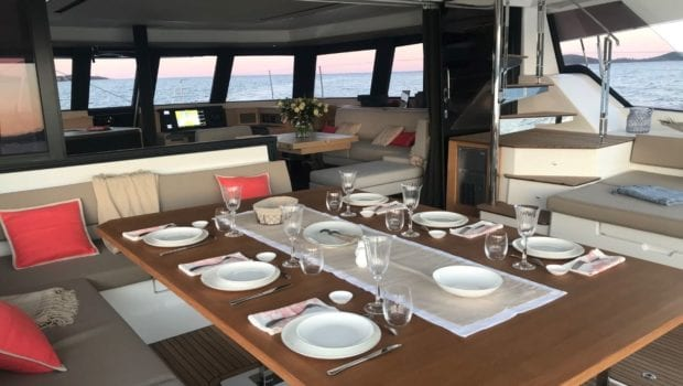 number one catamaran aft deck dining (3) min -  Valef Yachts Chartering - 0800