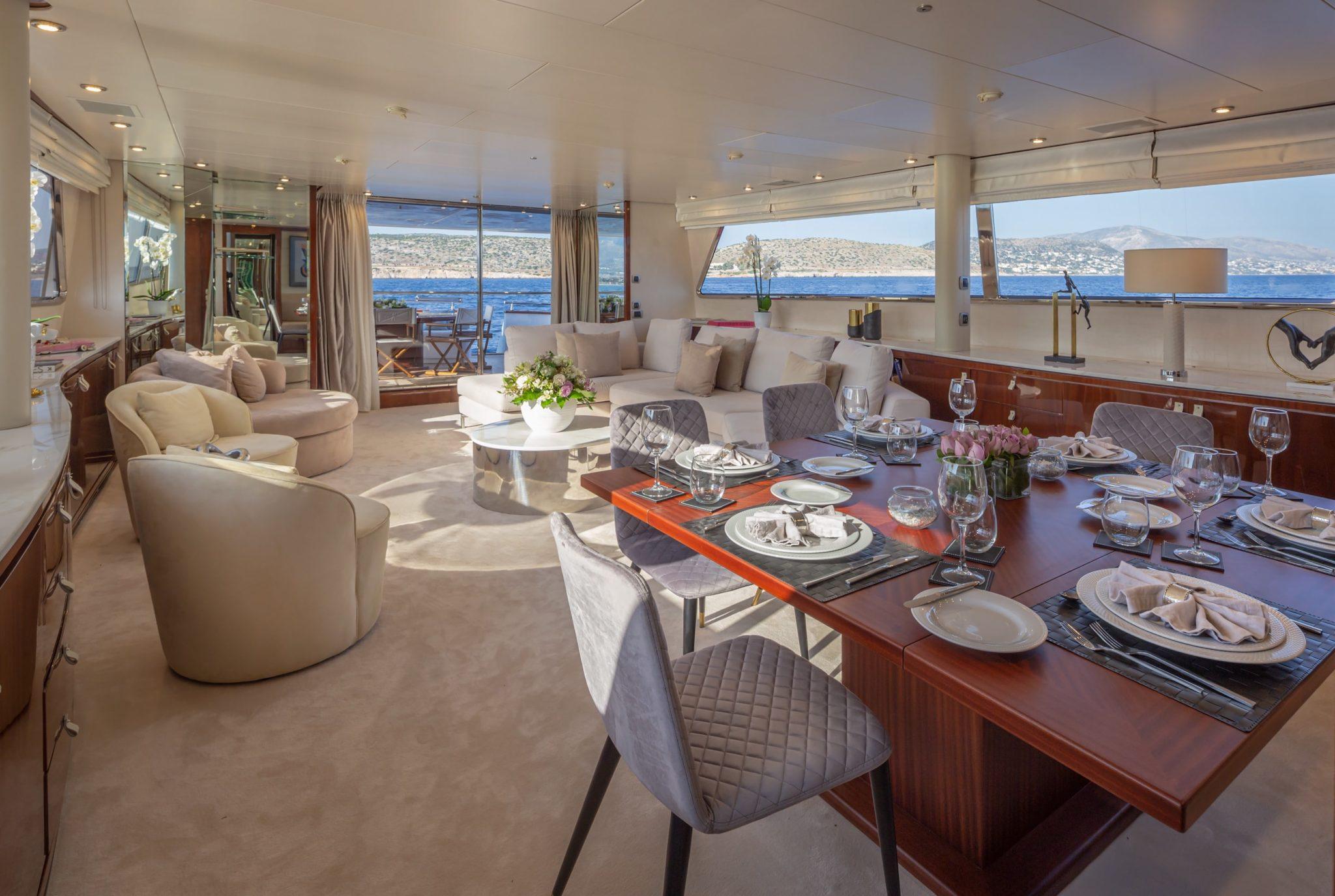 grace motor yacht dining (2) min -  Valef Yachts Chartering - 0688