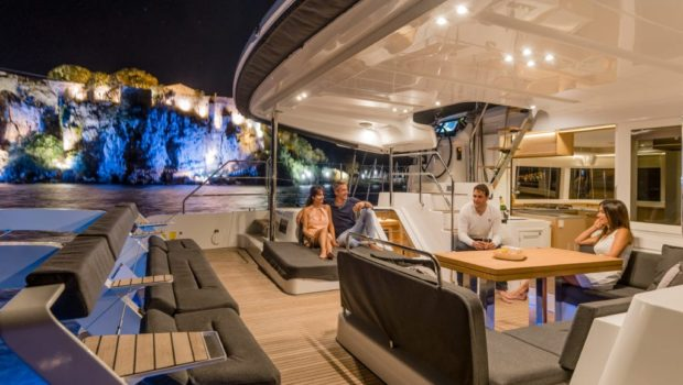 galux one catamaran aft deck night min -  Valef Yachts Chartering - 0474