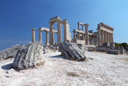 Aphaia Temple in Aegina in bright sunlight