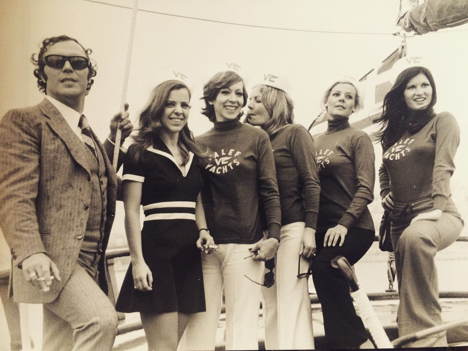 vintage Valef Yachts, Chairman Vassilis Lefakinis and five Valef employees in the 60's aboard motor sailer Doxa II