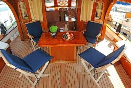 aegeas motor sailer aft deck (1) -  Valef Yachts Chartering - 0093