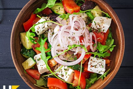 a delicious Greek salad served in a bowl
