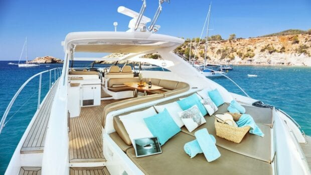 deck of Aurelia with sun loungers