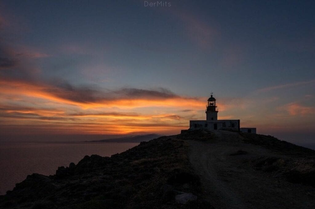 Armenistis lighthouse in Mykonos at sunset