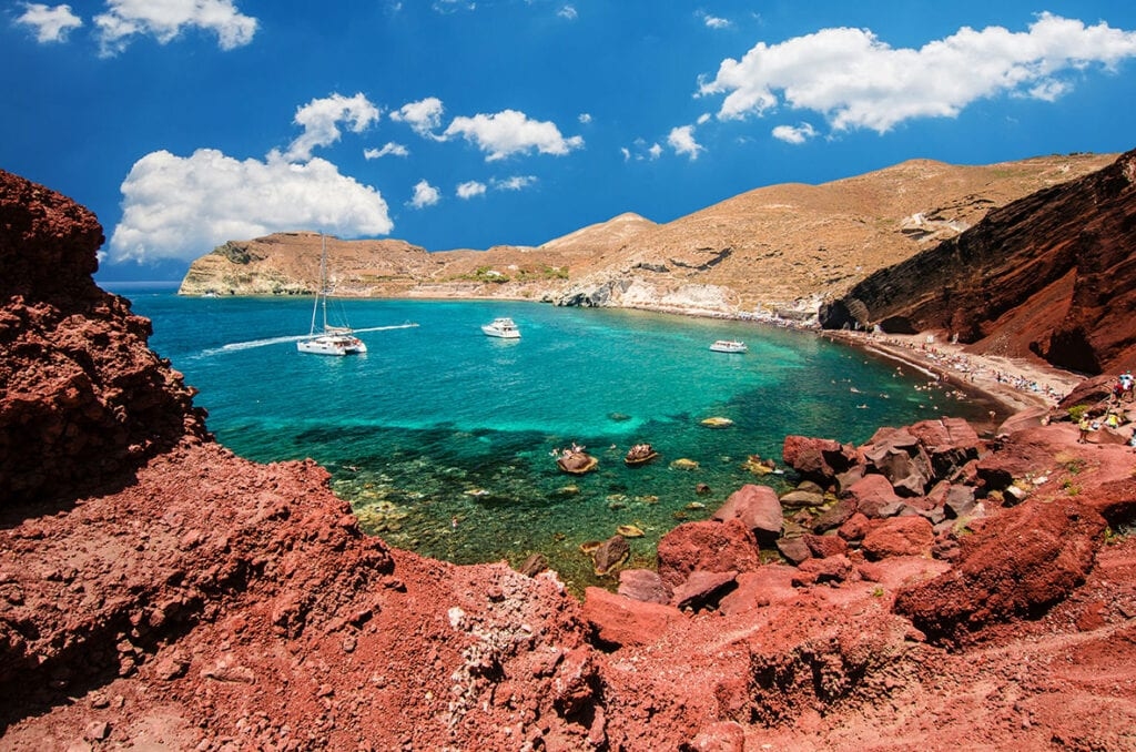 Red sand beach in Santorini