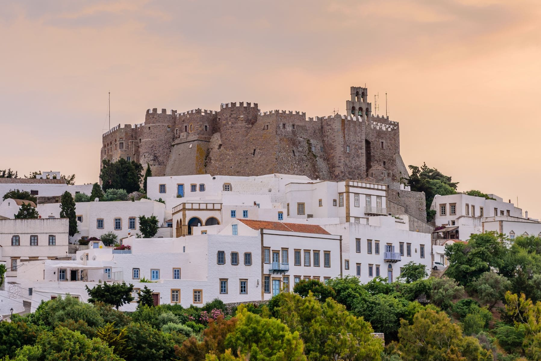 Monastery of Patmos at sunset