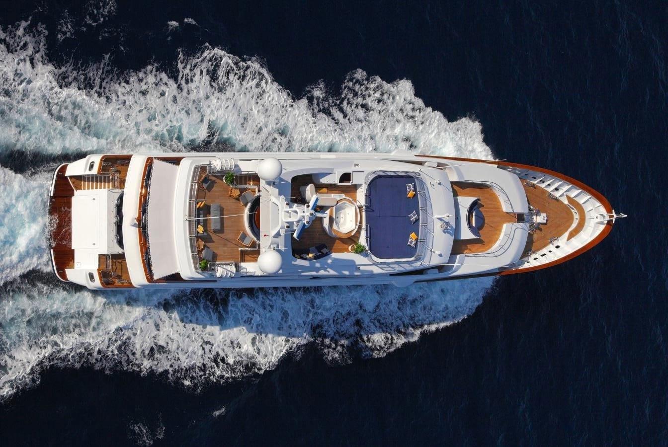 aerial of yacht cruising