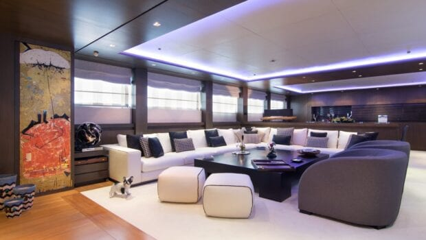 interior lounge of yacht
