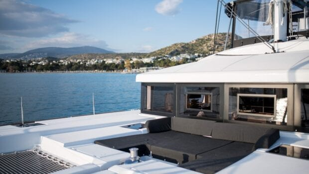 fore lounge of catamaran yacht