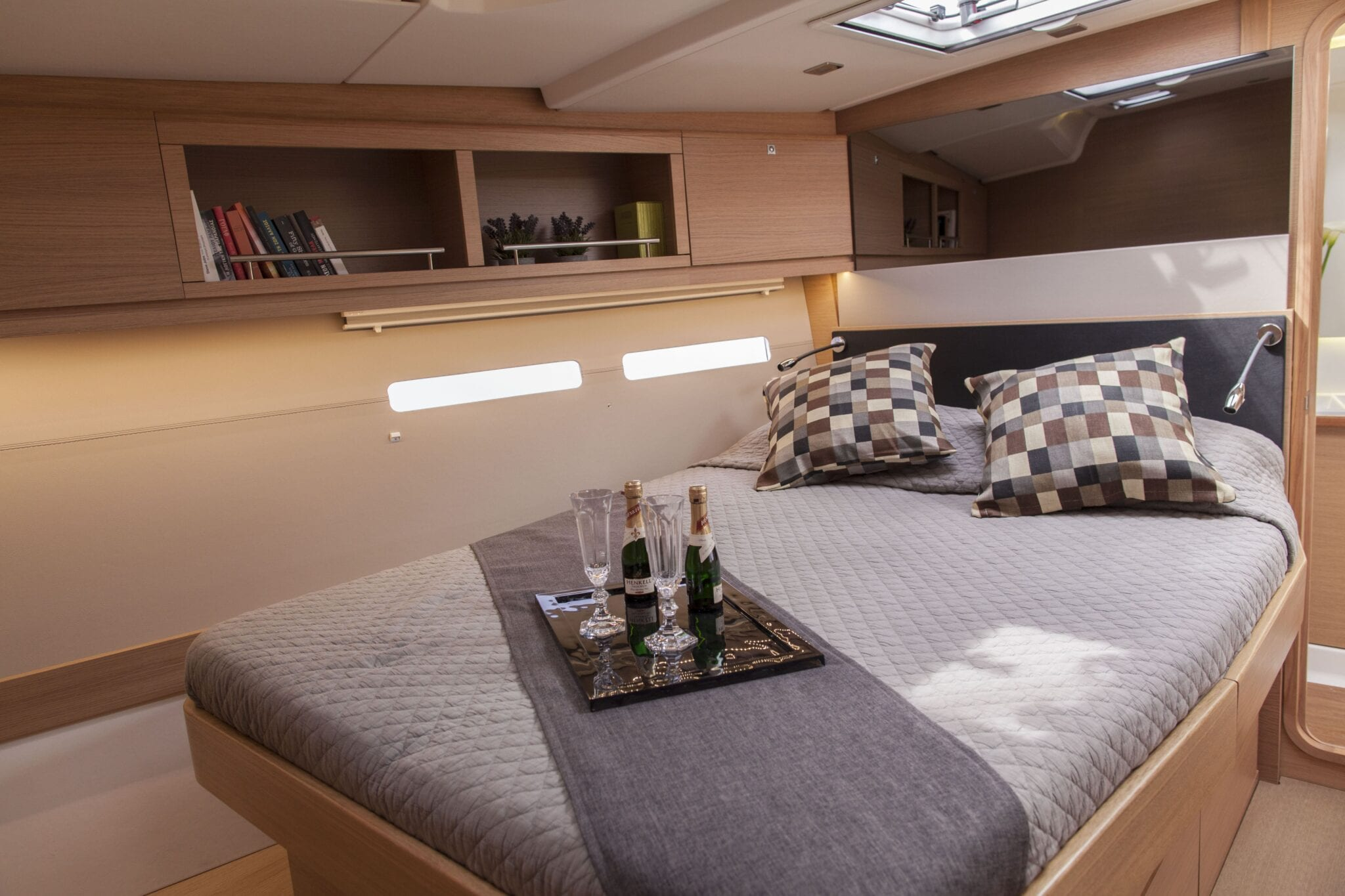 Double cabin of sailing yacht