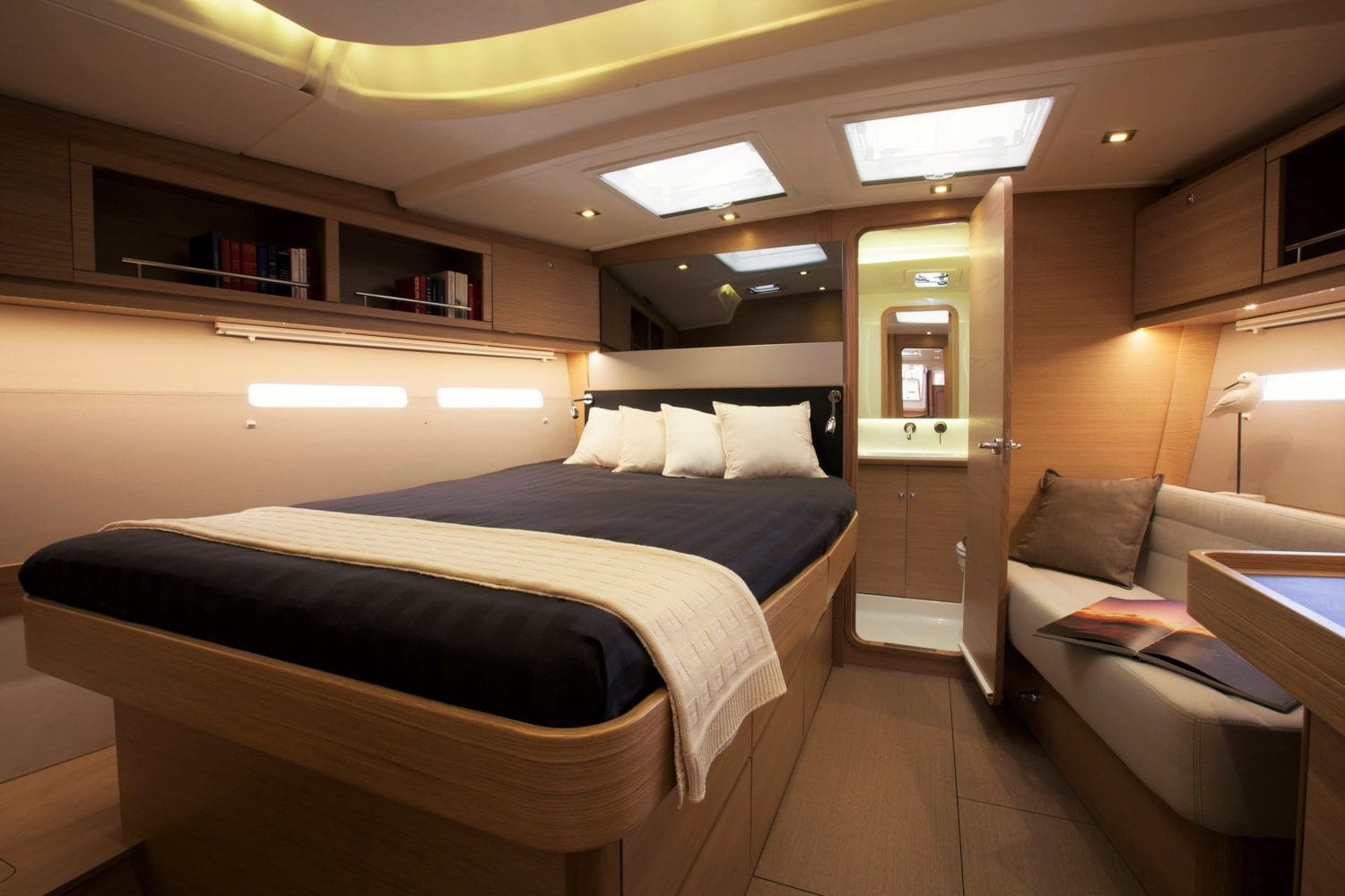 Owners cabin of sailing yacht